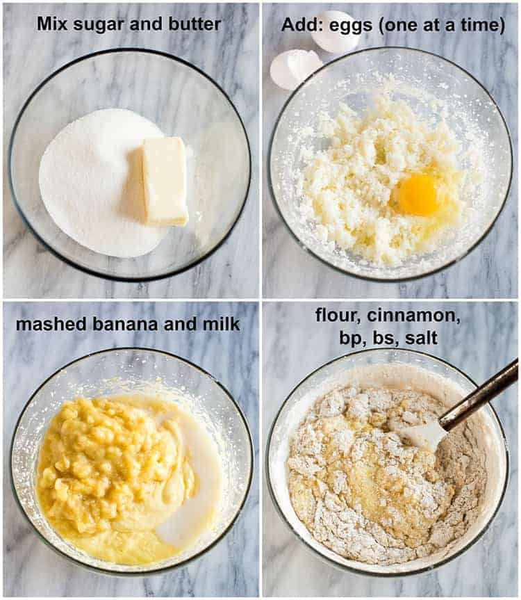 Four process photos for making banana bread with instructions over each photo including a bowl with sugar and butter, eggs added one at a time, mashed banana and milk added, and then flour mixed in.