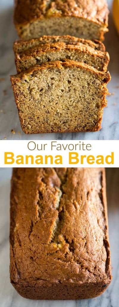 Our family's very favorite Banana Bread Recipe is EASY, moist, simply perfection! Look no further for a fool proof banana bread recipe. #bananabread #bananabreadrecipe #easybananabread #moist #tastesbetterfromscratch