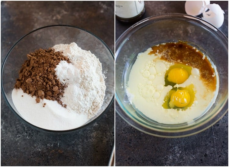 Process photos for making a chocolate cake including mixing the dry ingredients and wet ingredients in separate mixing bowls.