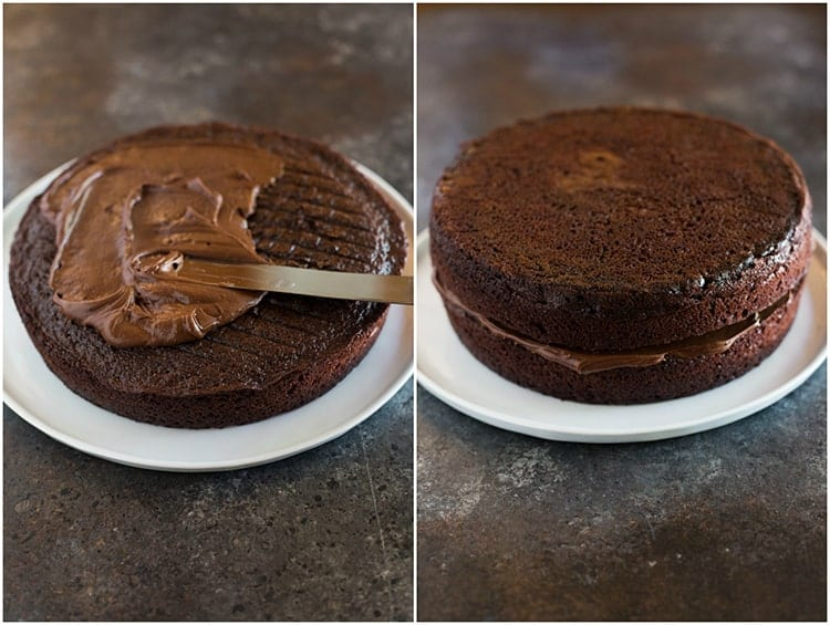 A round chocolate cake layer on a white plate with chocolate frosting being spread on top, next to another photo of the cake with a second round cake layer placed on top.