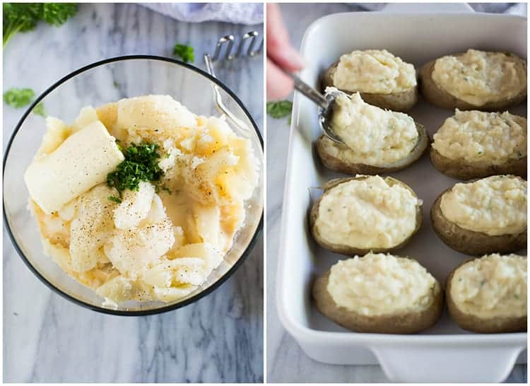 A clear glass bowl with the ingredients for making twice baked potatoes including cooked potatoes, butter, milk and parsley, next to another photo of the mashed potatoes being spooned into baked potatoes shells.