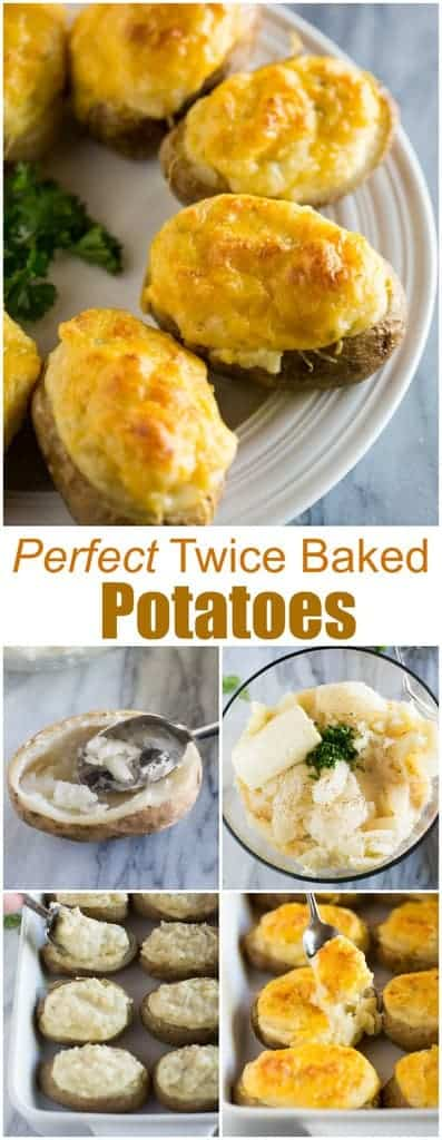 Easy Twice Baked Potatoes are baked potatoes stuffed with a creamy, fluffy mashed potato filling and topped with shredded cheese. They make a great side dish for a crowd. #twicebakedpotatoes #easy #makeahead #foracrowd #tastesbetterfromscratch