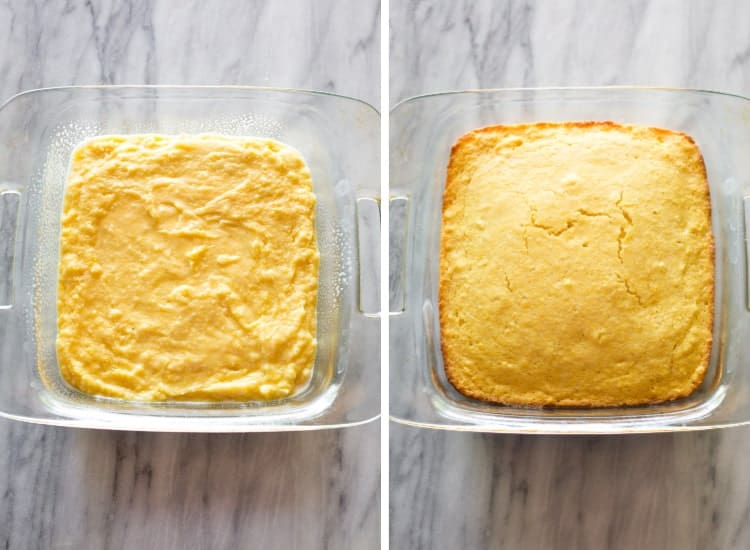 Before and after photos of cornbread batter in a square glass baking pan next to the same pan with the baked cornbread.