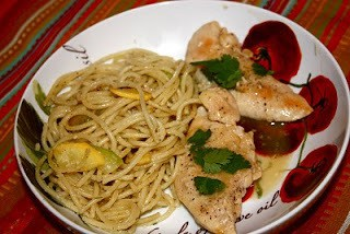 Lime Chicken with Garlic Veggie Pasta