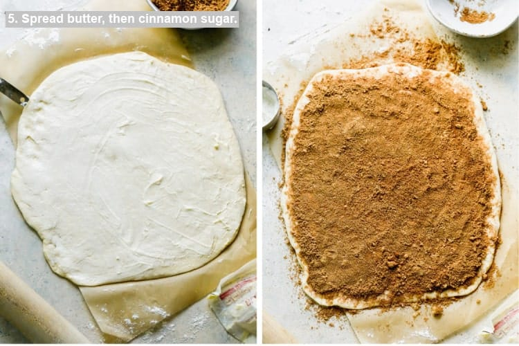 Softened butter smoothed over rolled out dough, then cinnamon and sugar sprinkled on top..