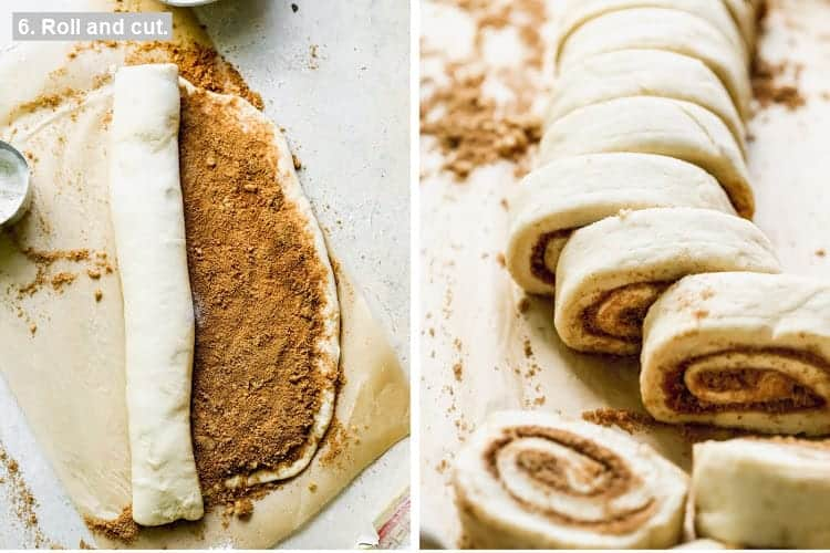 Filled cinnamon roll dough being rolled up, then cut into pieces.