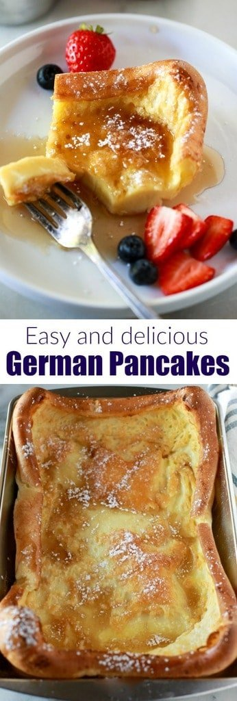 The absolute best german pancakes recipe. Six simple ingredients, five minutes to prepare, and a sure family favorite! | tastesbetterfromscratch.com  #easy #recipe #best #oven #german #pancakes