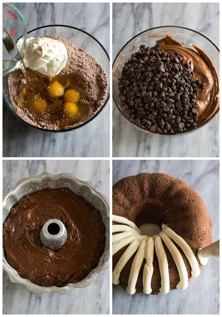 Four process photos for making a chocolate bundt cake in a mixing bowl, the batter ready to bake in a bundt pan, and a the baked cake being frosted.