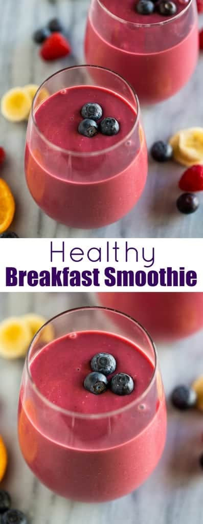 A Healthy Breakfast Smoothie recipe made with fruit, yogurt, and rolled oats. This smoothie is packed with fiber and protein for a perfect start to the day. #breakfastsmoothie #healthysmoothie #smoothierecipe #tastesbetterfromscratch #smoothie #easy #best #healthy