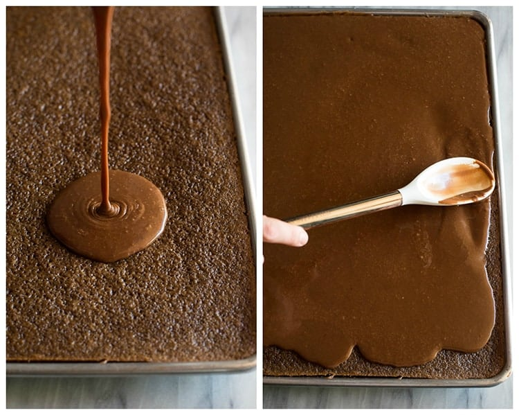 Warm chocolate frosting poured over a baked Texas sheet cake next to a photo of the frosting being spread with a spatula.