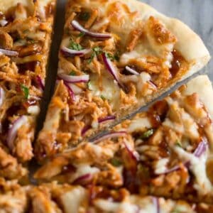Close up photo of a slice of bbq chicken pizza.