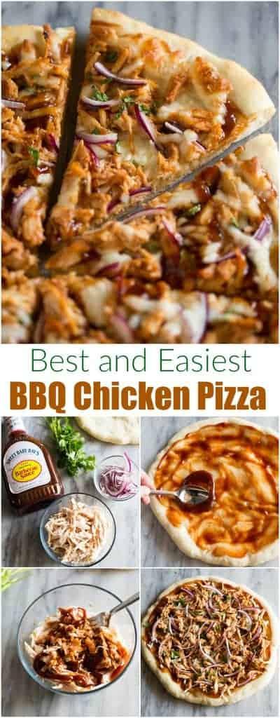 Homemade BBQ chicken pizza made with bbq sauce, mozzarella, chicken, red onions and cilantro on perfect homemade pizza crust. #bbqchickenpizza #easy #recipe #homemade #tastesbetterfromscratch