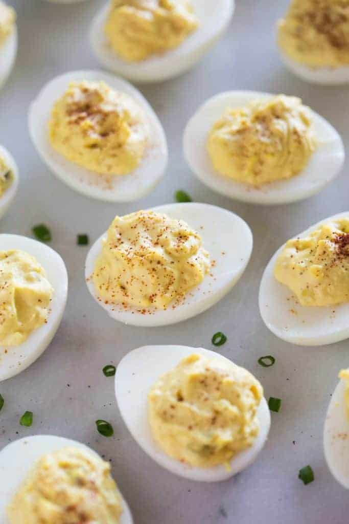 Traditional Deviled eggs with a sprinkle of paprika.