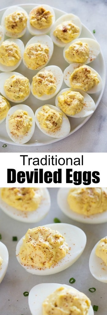 Easy Deviled Eggs with just five main ingredients that are quick and easy to make! These are perfect for any type of party. #deviledeggs #eggs #easter #appetizer