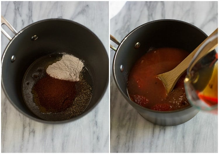 Side by side photos of a saucepan with the ingredients to make enchilada sauce and the other saucepan with beef broth being poured into the pot.