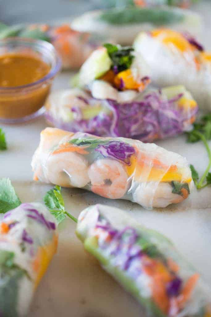 Fresh spring rolls with shrimp, veggies and a peanut dipping sauce.