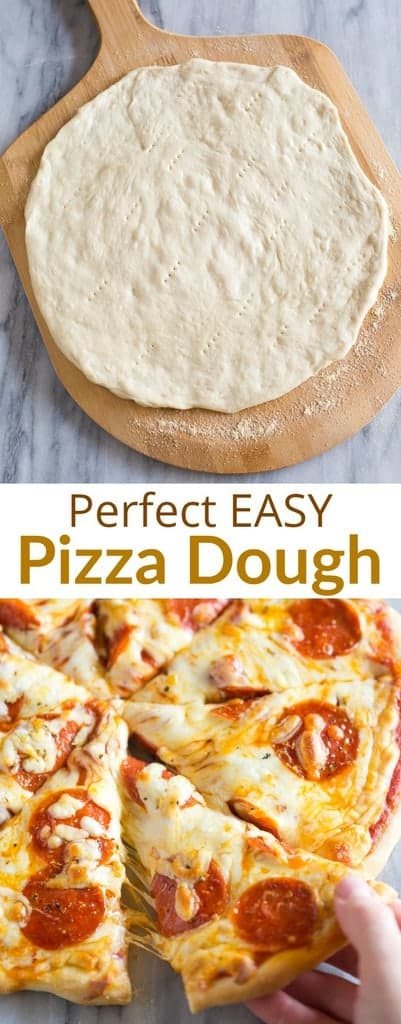 A step-by-step guide for making homemade Pizza Dough. This easy pizza dough recipe is quick and inexpensive and adaptable for thin or thick crust pizza!  #pizzadough #tastesbetterfromscratch #pizzadoughrecipe  #easy #quick  #homemade #pizza #best