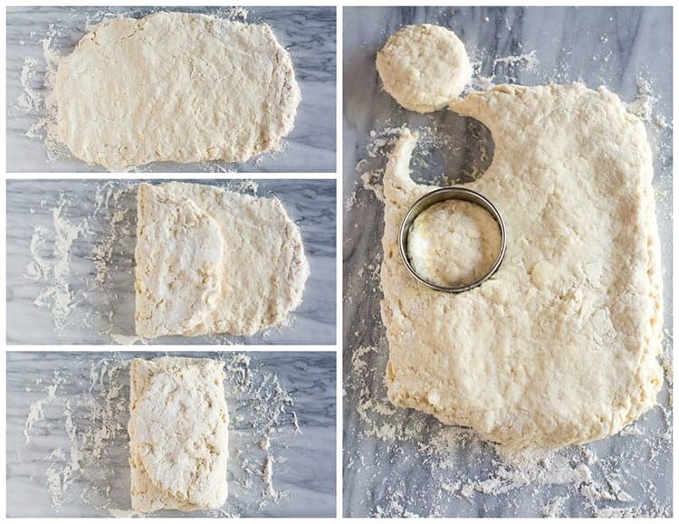 Four process photos showing hot to fold a rectangle of biscuits dough into thirds and then cut circles out of the dough with a biscuit cutter.
