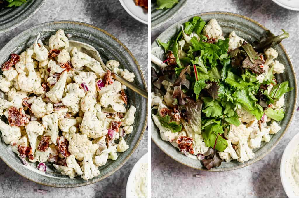 Cauliflower, bacon and onion tossed in dressing, then chopped green lettuce added on top.
