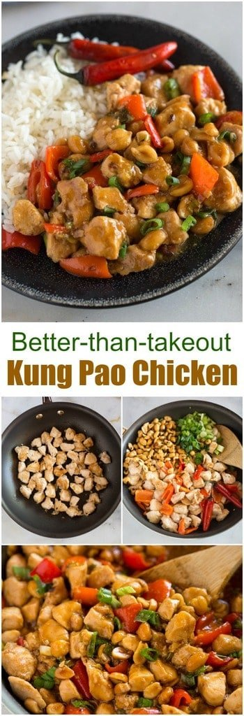 I'm confidant this Kung Pao Chicken recipe will be the best Chinese food you've ever made from home!  Stir-fried chicken, peanuts, and green onion in a delicious salty, sweet, and spicy kung pao sauce, served over hot cooked rice. #chinese #stirfry #chicken #healthy #asian #kungpao #easy #best #dinner