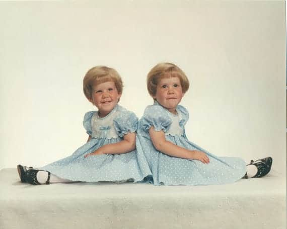 A picture of Lauren and her twin sister, Liz as small children.