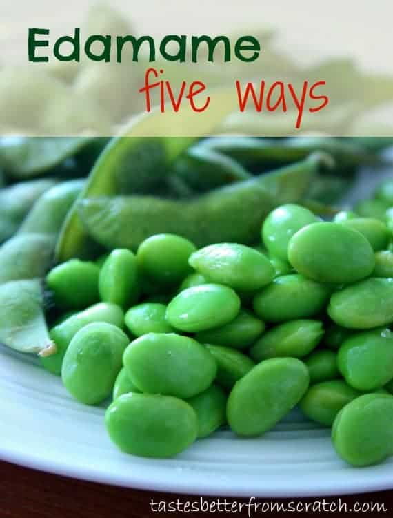Edamame soy beans on a plate.