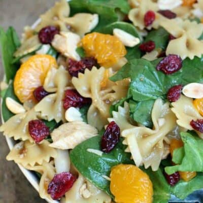 Spinach, Chicken, Bowtie Pasta Salad with Teriyaki Vinaigrette