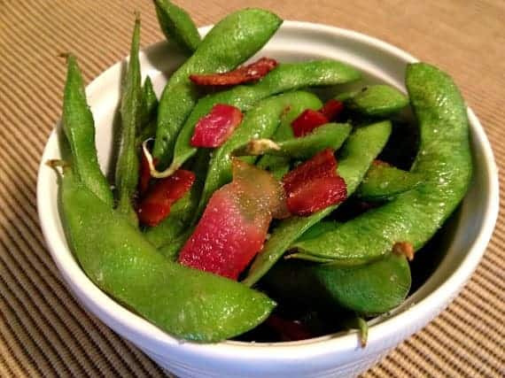 Bacon edamame in a small bowl