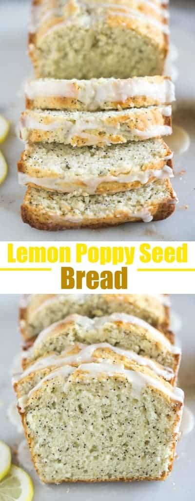 Lemon Poppy Seed Bread with a sweet lemon orange glaze is one of my favorite easy quick bread recipes. #bread #quickbread #easy #best #lemon #poppyseed