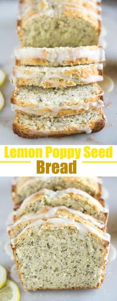Lemon Poppy Seed Bread with a sweet lemon orange glazeis one of my favorite easy quick bread recipes. #bread #quickbread #easy #best #lemon #poppyseed