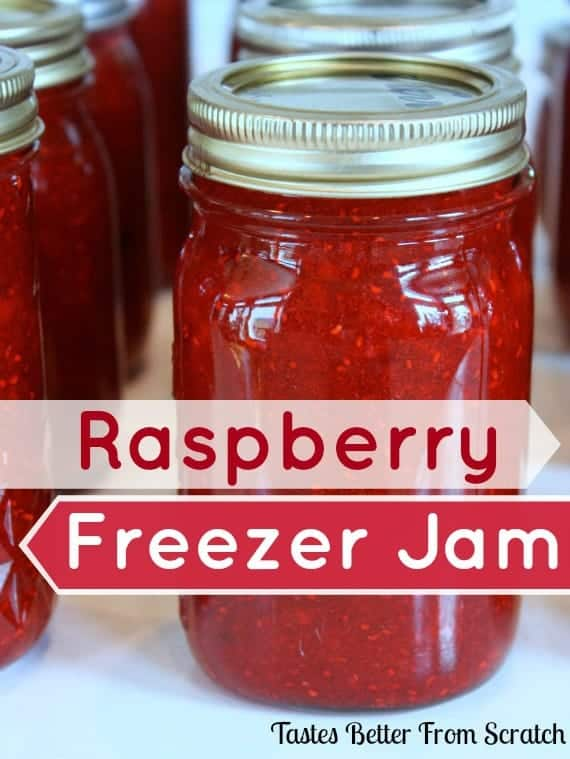 Raspberry Freezer Jam recipe from TastesBetterFromScratch