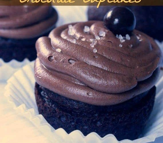 Salted Caramel Chocolate Cupcakes + Free Printable Father's Day Toppers