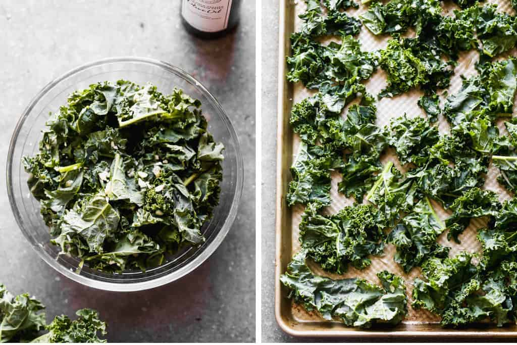 Chopped kale in a bowl next to a sheet pan with kale leaves on it.