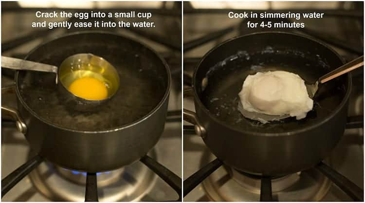 Process photos for poaching an egg including a measuring cup with a cracked egg in it being lowered into a saucepan of simmering water, next to another photo of the poached egg being removed from the water.