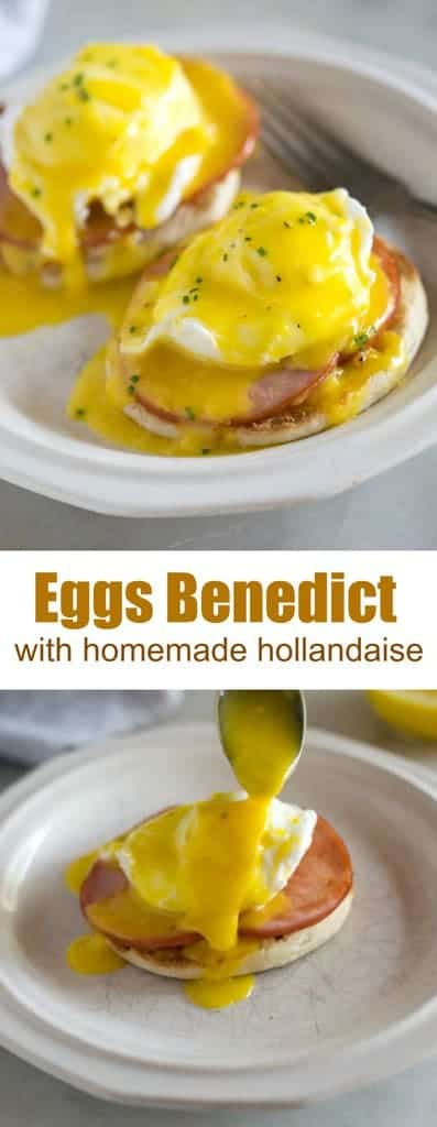 Eggs Benedict is my favorite breakfast menu item, and it's super easy to make from home! It starts with a toasted english muffin, topped with a slice or two of Canadian bacon, a poached egg, and smothered in traditional Eggs Benedict sauce, called hollandaise sauce. #eggsbenedict #poachedegg #canadianbacon #best #easy #hollandaise #breakfast