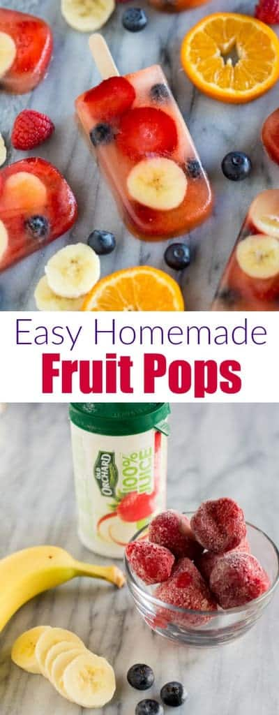 These homemade Fruit Popsare popsicles made with just three ingredients, including fresh fruit and no added sugar. They make a great healthy snack for kids and they only take a few minutes to prepare. #popsicles #fruit #snack #healthy #kidfriendly #fruitpops #easy #summer