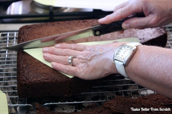 A baked cake being cut into patterns for an airplane cake.