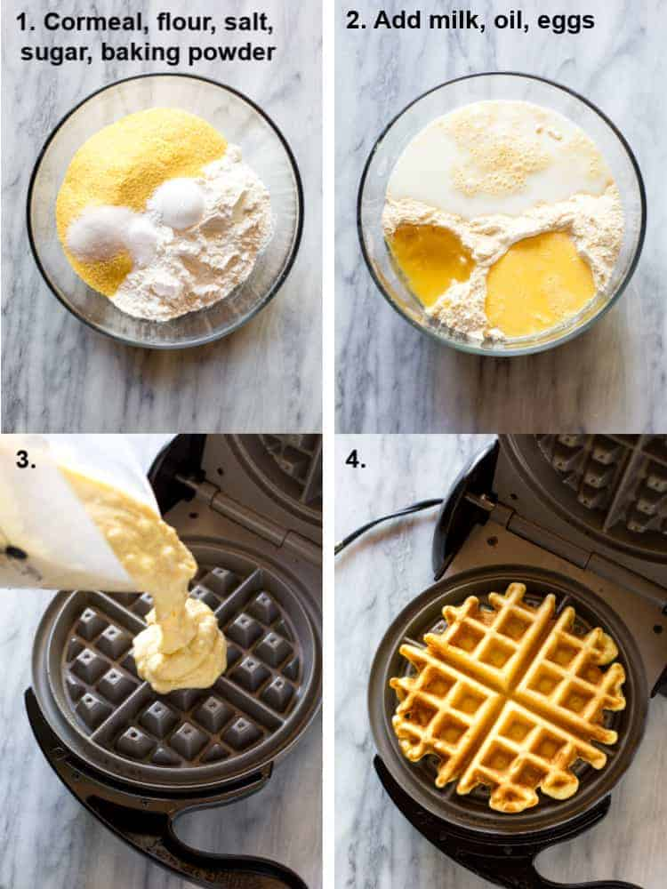The step-by-step process for making cornbread waffles including the dry ingredients in a bowl, the wet ingredients added, the batter being poured into the waffle iron, and the final cooked waffle resting in the waffle iron.