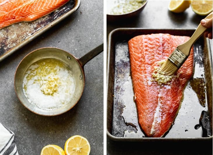 A small skillet with melted butter, lemon juice and minced garlic next to a photo of a salmon filet on a baking sheet with a pastry brush smoothing lemon garlic sauce on top.