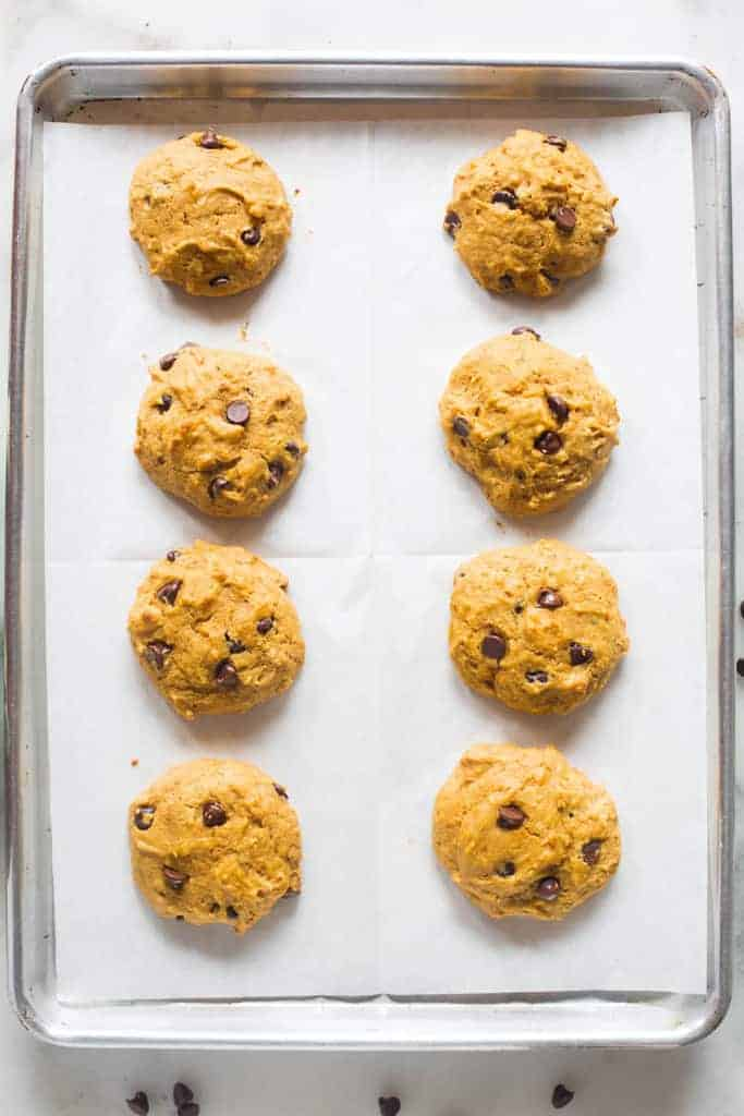 Pumpkin Chocolate Chip Cookies fresh out of the oven on a baking sheet.