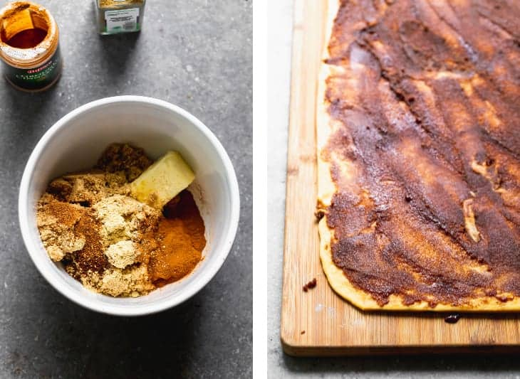 A white bowl filled with a stick of butter, brown sugar, cinnamon sugar next to a cutting board with rolled out dough and the cinnamon sugar mixture spread over the dough.