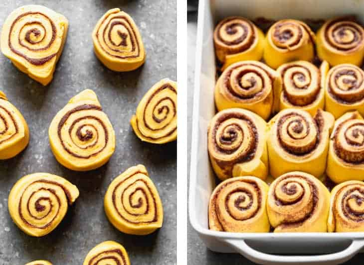 The rough rolled and cut for pumpkin cinnamon rolls next to another photo of the baked cinnamon rolls in a white pan.