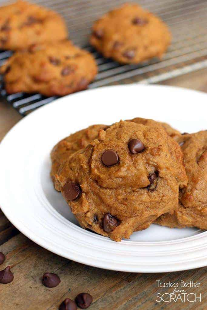 Pumpkin Chocolate Chip Cookies from TastesBetterFromScratch.com