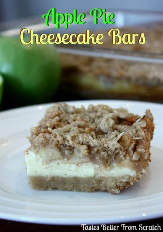 One serving of apple pie cheesecake bar on a white plate.