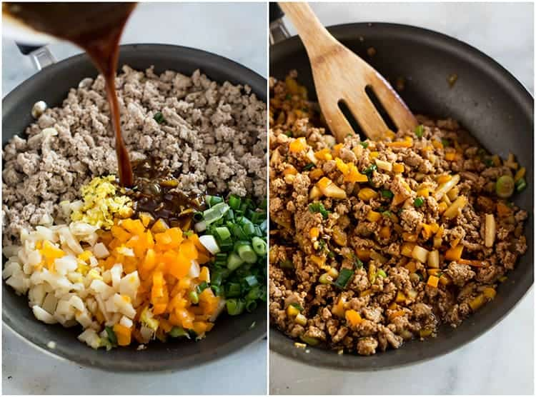The ingredients to make lettuce wraps, in a saucepan, including ground chicken, green onion, bell pepper, ginger and a sauce, next to another photo of the skillet with the filling for lettuce wraps cooked and mixed together.