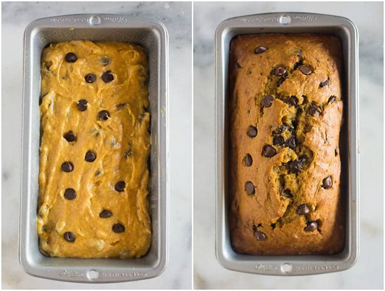 Side by side photos of a loaf pan with the batter for pumpkin bread and the loaf pan after it has baked.