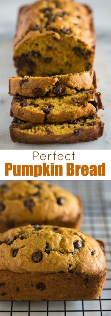 The BEST pumpkin bread with chocolate chips that is easy to make, moist, and can be made in a big loaf pan or several mini loafs. #pumpkinbread #pumpkin #best #easy #recipe #moist #tastesbetterfromscratch