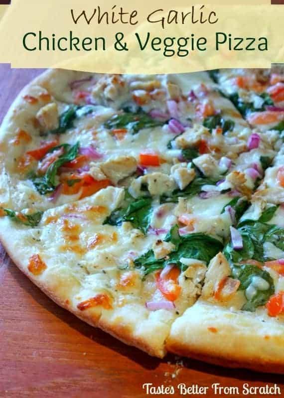 White Garlic Chicken Veggie Pizza Tastes Better From Scratch