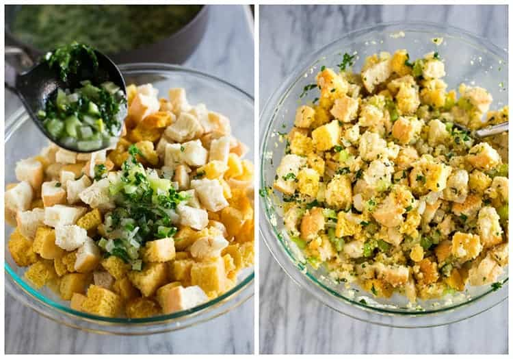 Side by side photos of a large glass bowl with bread cubes and chicken broth being ladled over the bread, and then the mixture tossed together to make cornbread stuffing.