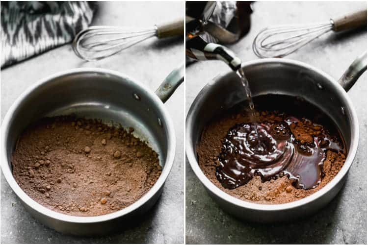 A saucepan with cocoa powder and sugar, then boiling water added.